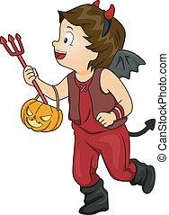 男孩, 魔鬼, halloween 服裝式樣