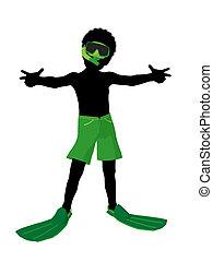 男孩, 黑色半面畫像, 插圖, 美國人, 水下通气管, african
