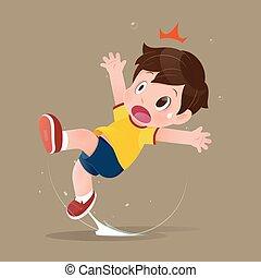 男孩, because, 衬衫, 感到, 水坑, 震动, 黄色, 滑落, floor., 卡通漫画