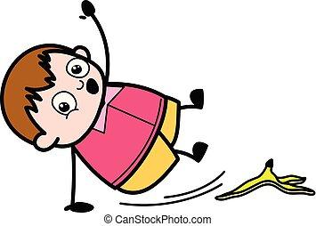 男孩, slipped, 剥皮, -, 脂肪, 香蕉, 矢量, 描述, 卡通漫画, 青少年
