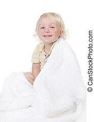 男孩, todller, 毛巾, 洗澡, 嬰孩, 傻, 包裹