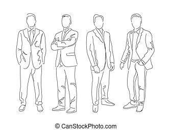 男性たちのグループ, 服を着せられる, 中に, ∥, スーツ