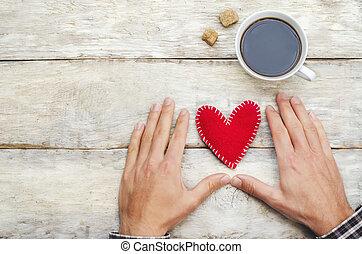 男性の手, ∥で∥, 心, そして, a, コーヒーのカップ