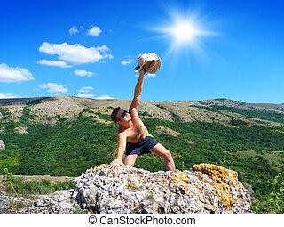 男性の登山家, 岩