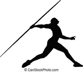 男性の運動選手, 投げ槍, 投球, シルエット, 黒