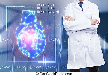男性的医生, 带, 心, 全息图