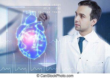 男性的医生, 带, 心, 接口