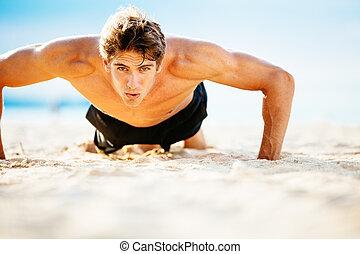 男性的運動員, 行使, 做俯臥撐