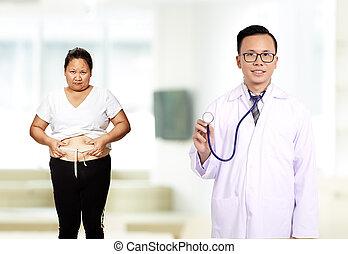 男性的醫生, 由于, 病人, 糖尿病患者, 婦女