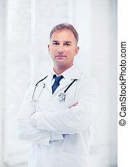 男性的醫生, 由于, 聽診器