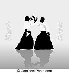 男性, かみ合った, 2, aikido