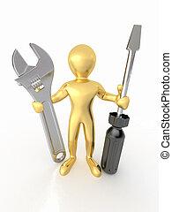 男性, ∥で∥, レンチ, そして, screwdriver., 3d
