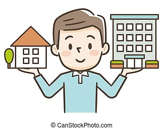 男性, アパート, 見る, 建物。, 若い