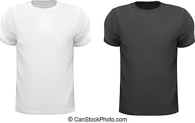 男性, イラスト, shirts., ベクトル, 黒, ポロ, デザイン, 白, template.