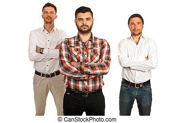 男性, カジュアルなビジネス, チーム
