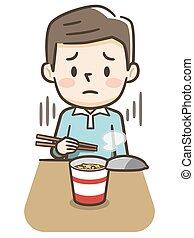 男性, カップ, 食べること, ramen, 若い