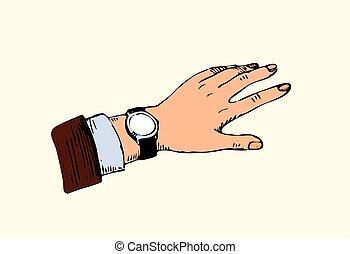 男性, コーヒー, 腕時計, 手, 見る, 昼食の 時間, 壊れなさい, ∥あるいは∥