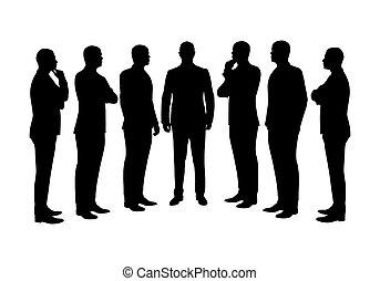 男性, シルエット, セット, ベクトル, ビジネス