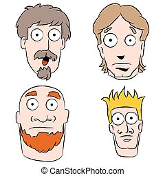 男性, セット, 漫画, 衝撃を与えられた