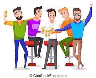男性, パーティー, 独身, ベクトル, 飲むこと, ビール, トースト