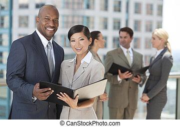 &, 男性, ビジネスの女性たち, チーム, 都市, interracial