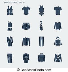 男性, ファッション, 隔離された, 白, 衣服