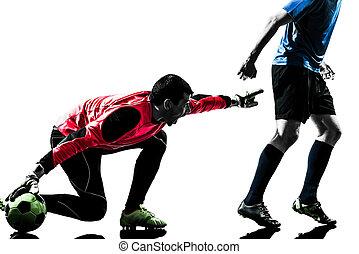 男性, プレーヤー, サッカー, 2, 競争, ゴールキーパー, シルエット