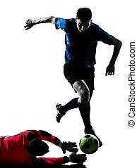 男性, プレーヤー, シルエット, サッカー, 競争, ゴールキーパー, 2