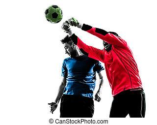 男性, プレーヤー, 2, ボール, 強打する, サッカー, ヘッディング, ゴールキーパー, competiti
