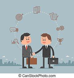 男性, 作成, ビジネスマン, ビジネス, style., イラスト, hands., ベクトル, deal., 平ら, 漫画, 概念, 動揺