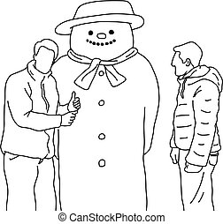 男性, 作成, 隔離された, スケッチ, ライン, 背景, ベクトル, 白, 黒, 大きい, の上, 印, 雪だるま, いたずら書き, 2, イラスト, 親指, 手, 引かれる