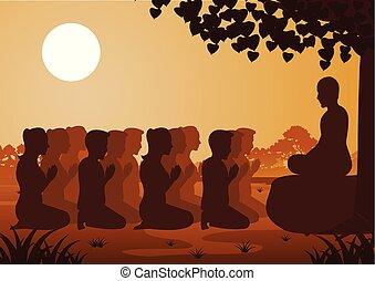 男性, 信頼, 仏教, 女性, 給料, 敬意, politely, 信じなさい, 修道士