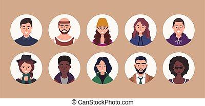 男性, 別, characters., 顔, 人間, スタイル, 人々, portraits., ベクトル, 漫画, 平ら, マレ, set., 束, ユーザー, avatar, 女性, イラスト, 女性, icons., 微笑