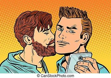 男性, 友情, selfie, meeting., smartphone, カップル。