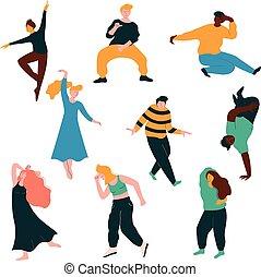 男性, 女性, 古典である, 人々, コレクション, 現代, 若い, イラスト, ダンス, ベクトル, ダンス, 特徴, 楽しみ, パーティー, マレ, 持つこと, 女性
