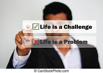 男性 專家, 選擇, 觀看, 生活, 如, a, 挑戰, 按鈕, instead, ......的, 問題