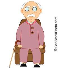 男性, 年配, 図画, モデル, 椅子, 容易である