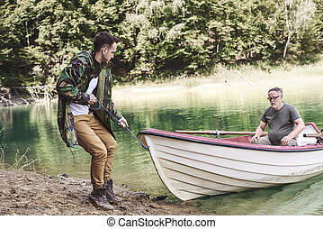 男性, 成人, ボート, 岸に上げること