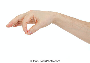 男性, 手握住, 一些, 事情, 对象, 隔离, 在怀特上