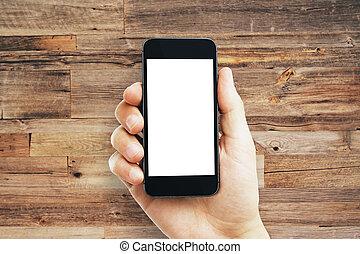 男性, 手握住, 空, 白色, cellphone