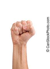男性, 手, 由于, a, 握緊拳頭, 被隔离