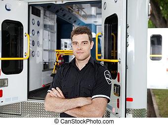 男性, 救護車, 個人, 肖像