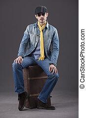 男性, 時髦模型, 由于, 小提箱