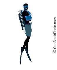 男性, 水下呼吸器潛水員, 插圖, 黑色半面畫像