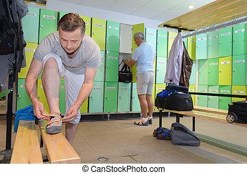 男性, 準備, ∥ために∥, スポーツ, 中に, ドレッシングルーム