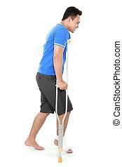 男性, 由于, 打破, 腳, 使用, 拐杖