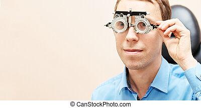 男性, 眼科医, 医者, メガネ屋, 実験室, 目, マレ, patient., 試験