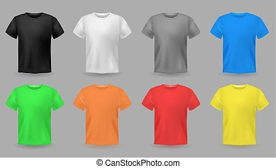 男性, 織物デザイン, 服装, 色, セット, 生地, mockups., ティーネージャー, ベクトル, カラフルである, tシャツ, 衣服