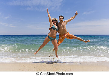 男性, 若い, ジャンプ, 海岸