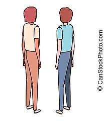 男性, 若い, 背中, 背景, ポジション, 白